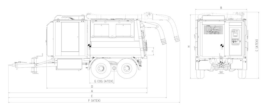 wymiary przemysłowego odkurzacza mobilnego SDT10T Disab