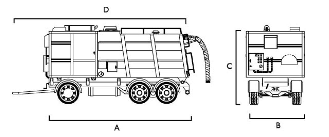 wymiary przemysłowego odkurzacza mobilnego SDT20T Disab
