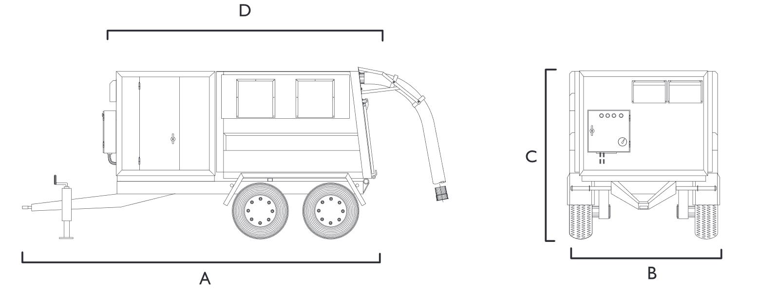 wymiary przemysłowego odkurzacza mobilnego SET10T Disab