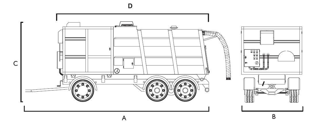 wymiary przemysłowego odkurzacza mobilnego SET20T Disab